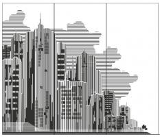 Пескоструйный рисунок город 3D №007